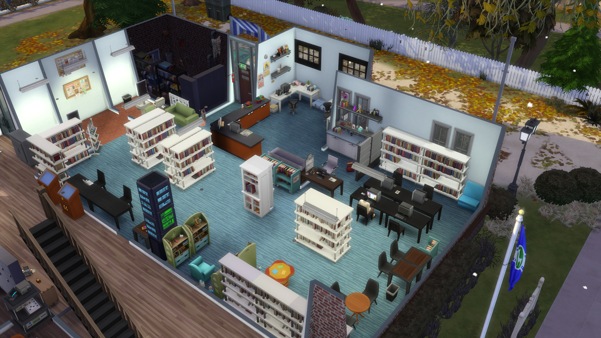 Micanopy Library building inside as made in the Sims 4 game