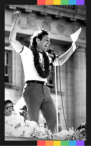 1978: Harvey Milk addressing the crowd from the stage at San Francisco Gay Freedom Day Parade.
