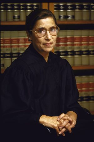 picture of Ruth Bader Ginsburg dressed in a black judge's robe