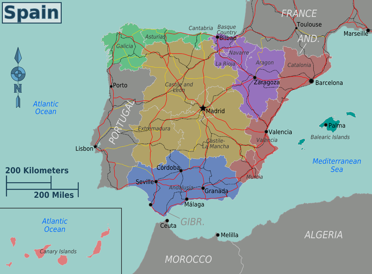Map of Spain & Spanish Territories
