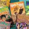 harry potter books laid out on green flat surface