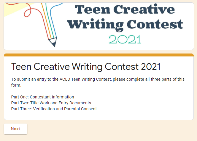 Teen Writing Contest Voting Form